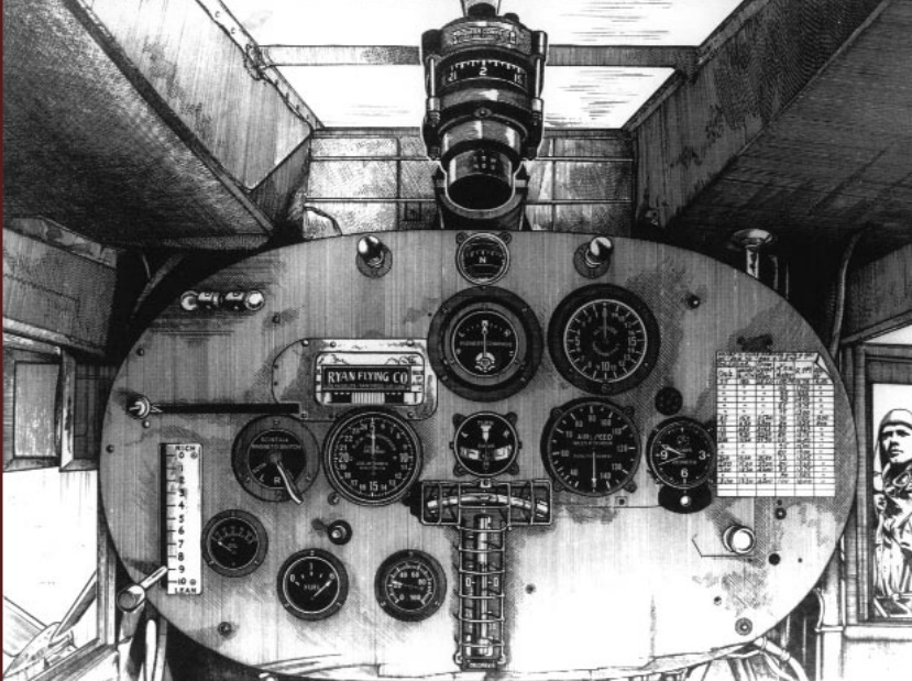 The instrument panel of the Spirit of St. Louis