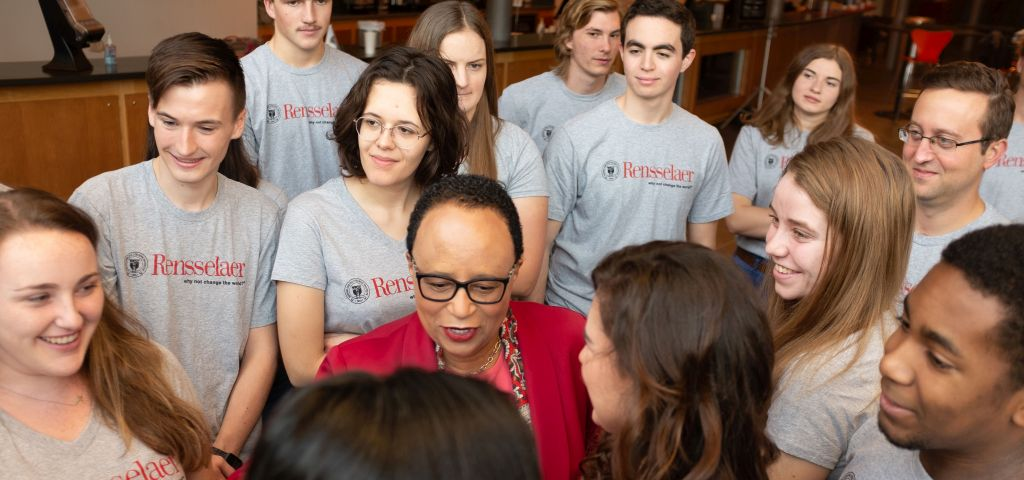 Dr. Jackson encourages a group of students at Rensselaer Polytechnic Institute.