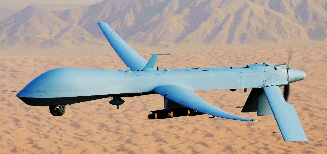 An MQ-1 Predator armed with Hellfire missiles. The Predator was first introduced in 19494 by Genereal Atomics.