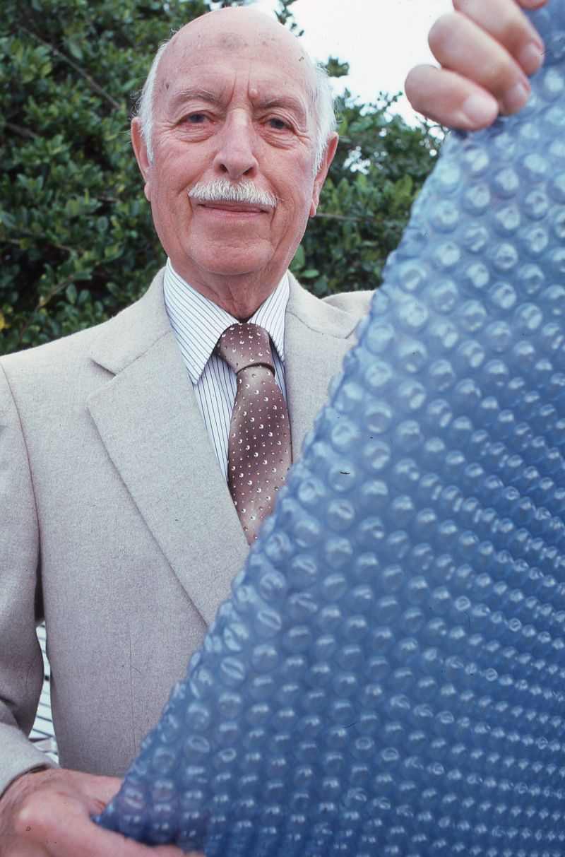 Marc Chavannes (above) and Alfred Fielding invented bubble wrap in 1957 as a high-end wallpaper.