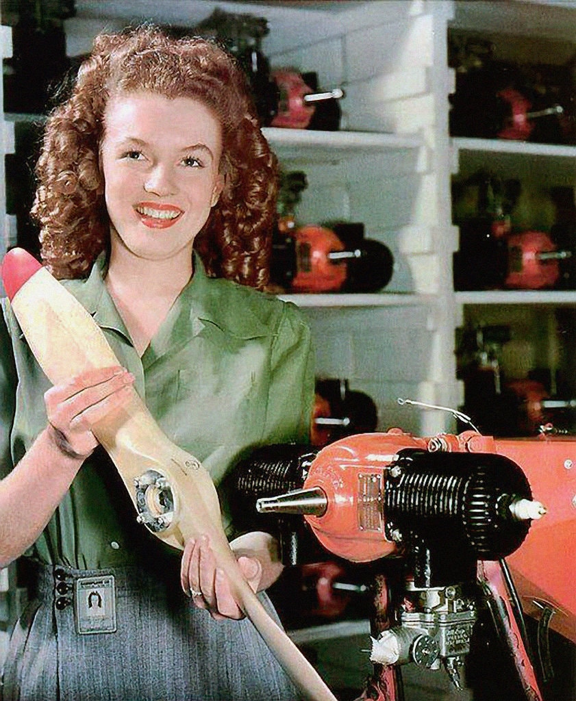 Norma Jean Dougherty, later known as Marilyn Monroe, was first photographed at age 19 holding the propeller of a Radioplane RP-5 drone.
