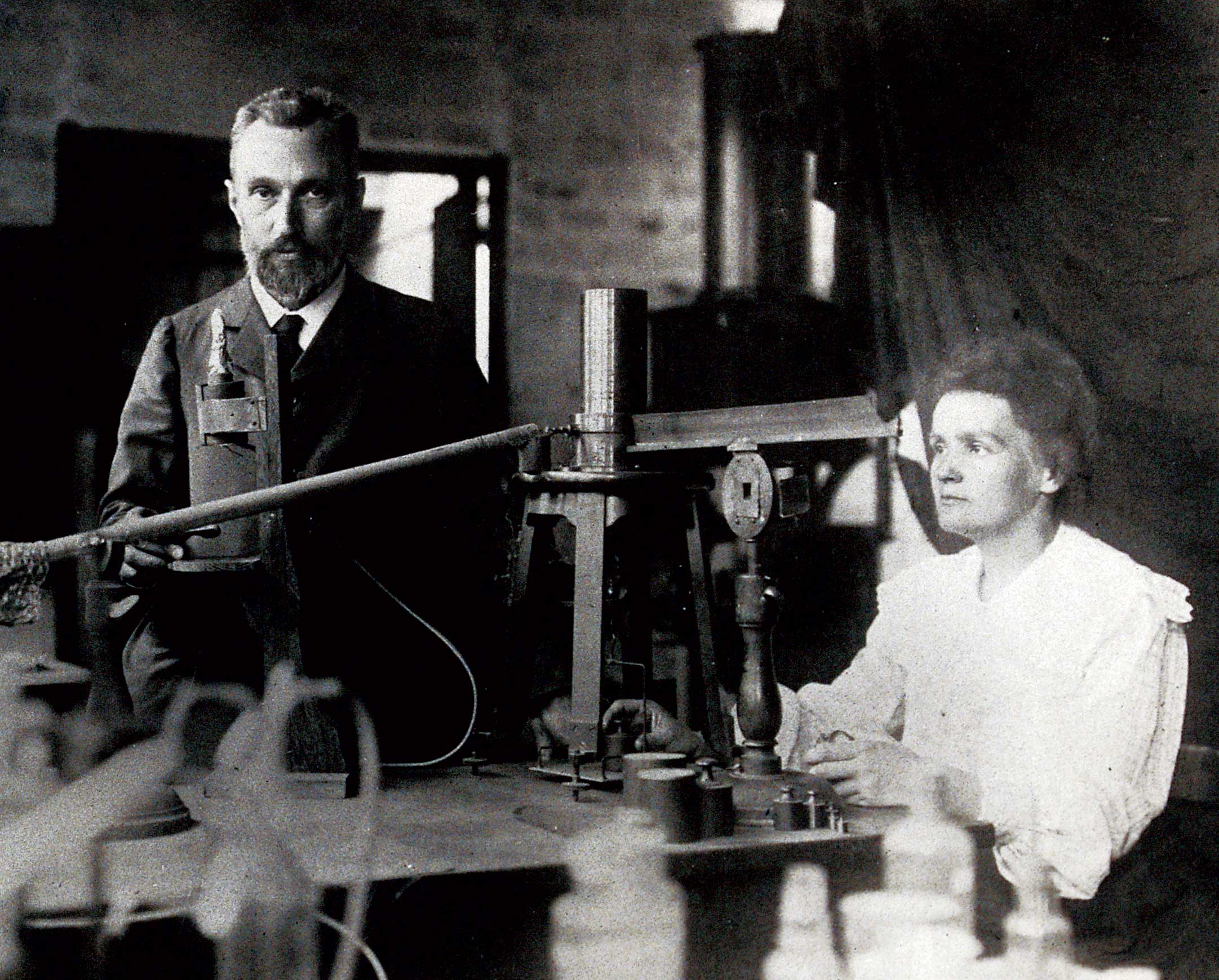 Pierre and Marie Curie in their lab