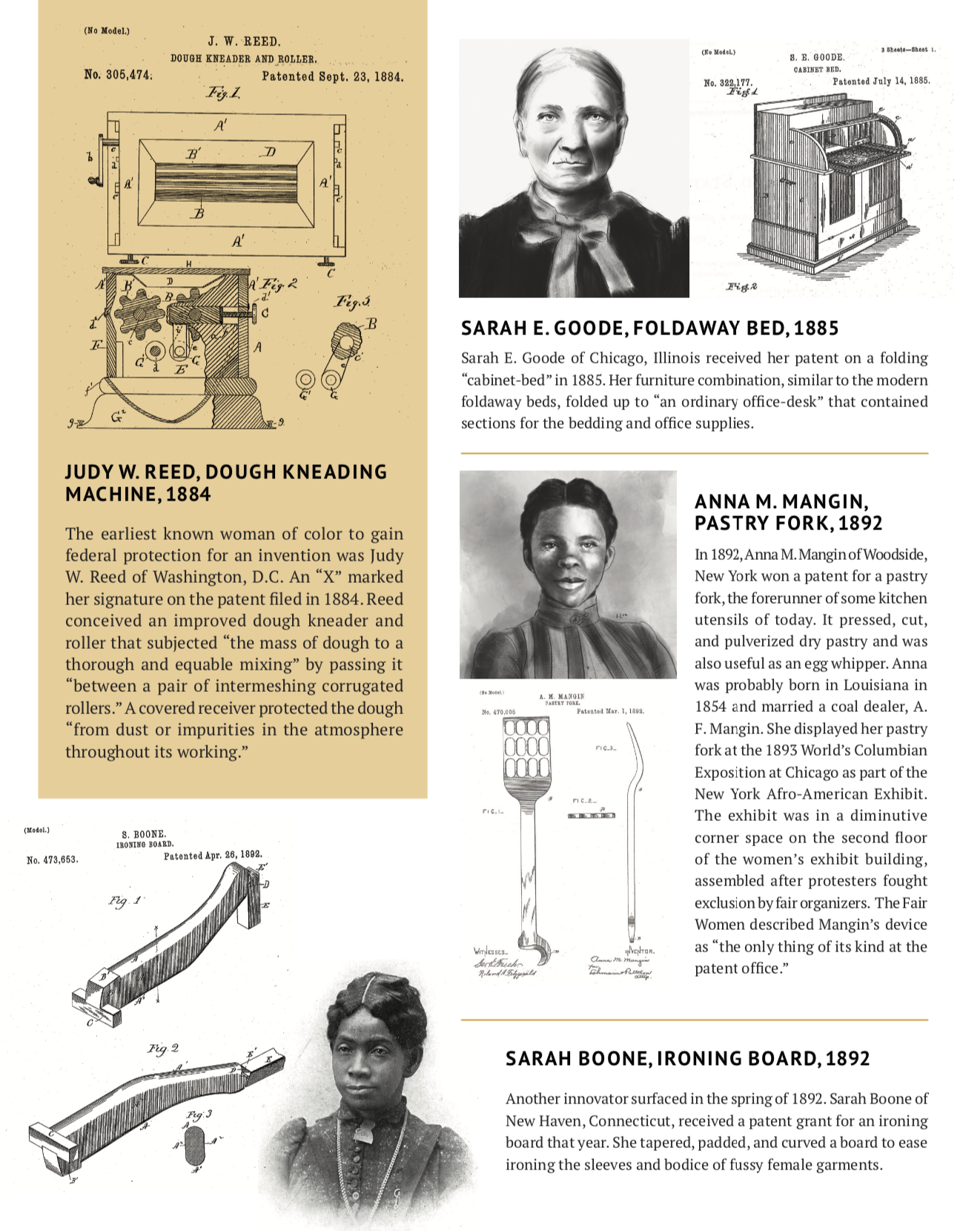Illustrations of early women of color patent holders
