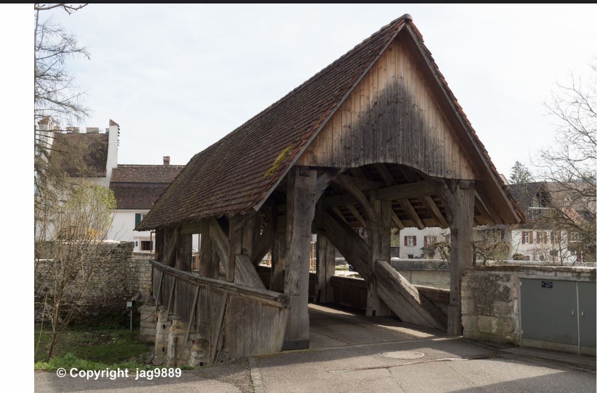 One of the world's oldest surviving covered bridges spans the Birs Release Canal East in Zwingen, Switzerland. Photo by Mario Burger.