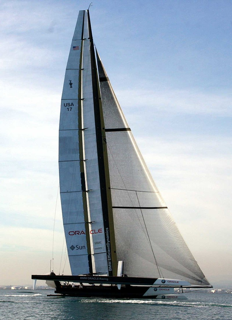 The BMW Oracle Racing America's Cup yacht USA-17 sailing off of Valencia, Spain in 2010. Photo by Pedro de Arechavaleta. Wikipedia