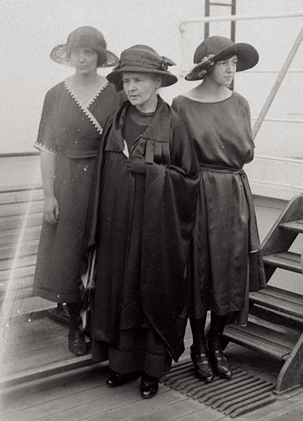 Curie, who crossed the Atlantic in 1921 with daughters Eve and Irène, was a pioneer in combining motherhood with a full-time career in science. Photo Courtesy of Library of Congress