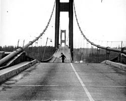 Howard Clifford running off the Tacoma Narrows Bridge during collapse