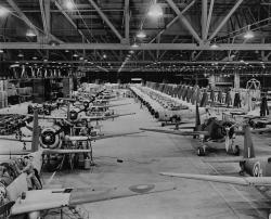 Production of the Vultee Vengeance bombers for the Royal Air Force at Downey, California