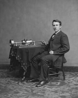 Edison with his early phonograph