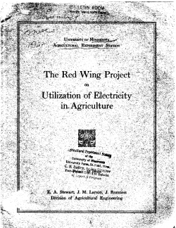 The Red Wing Project on Utilization of Electricity